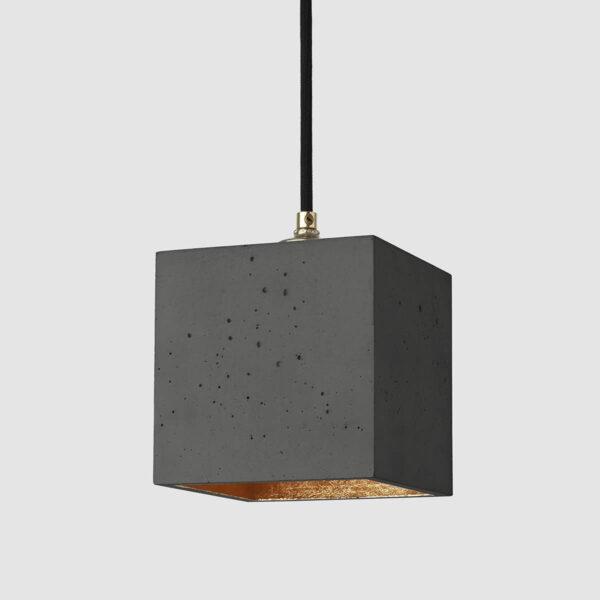 Viseča betonska luč kubus (temna)