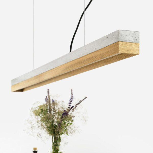 Lesena stropna luč hrast beton (svetla)