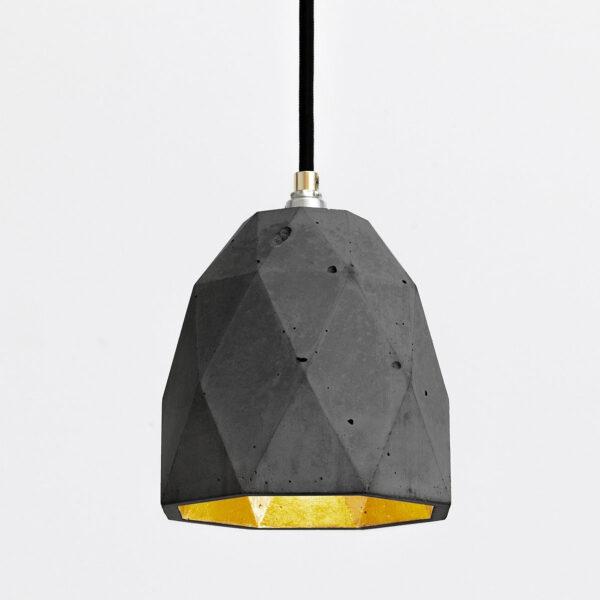 Viseča betonska luč triangel (temna)